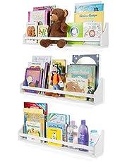 Nursery Décor Wall Shelves - 3 Shelf Set - White Long Crown Molding Floating Bookshelves for Baby & Kids Room, Book Organizer Storage Ledge, Display Holder for Toys, CDs, Baby Monitor