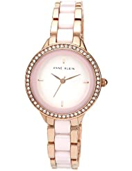Anne Klein Womens AK/1418RGLP Swarovski Crystal Accented Pink Ceramic and Rose Gold-Tone Bracelet Watch