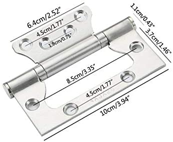 2Pcs//Set Free Slotted Door Hinge Thickened Silent Stainless Steel Hinge Color: Like pic