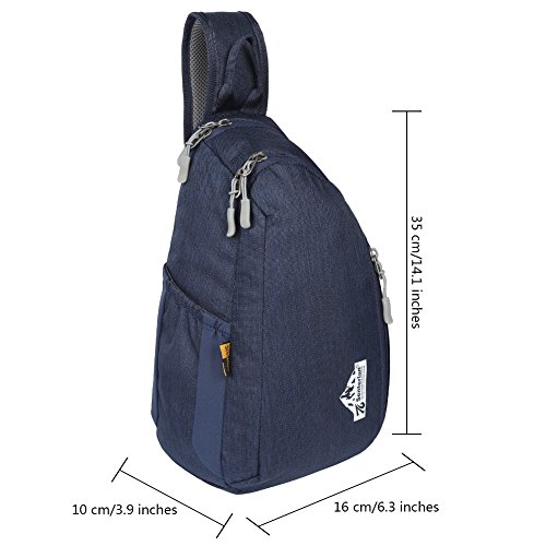 EGOGO Wasserdicht Nylon Schleuder Tasche Chest Pack Schultertasche für Sportarten Reisen Wandern W3403 Navy Blau qDHXupTjs