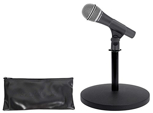 Samson Q8x Dynamic Microphone+Weighted Desktop Mic Stand For Studio/Podcast ()