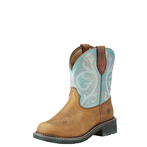 Ariat Women's Fatbaby Heritage Western Boot, Distressed Brown/Shimmer Turquoise, 8 B US (Turquoise Cowgirl And Boots Brown)