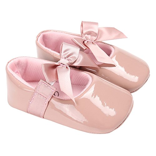 ent Leather Christening Baptism Mary Jane Princess Dress Flat Shoes with Bowknot Dark Pink Size S (Dark Pink Leather Footwear)