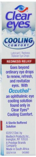 Clear Eyes Cooling Comfort Redness Eye Drops | Relieves Dryness, Burning, Irritations | 0.5 Ounce