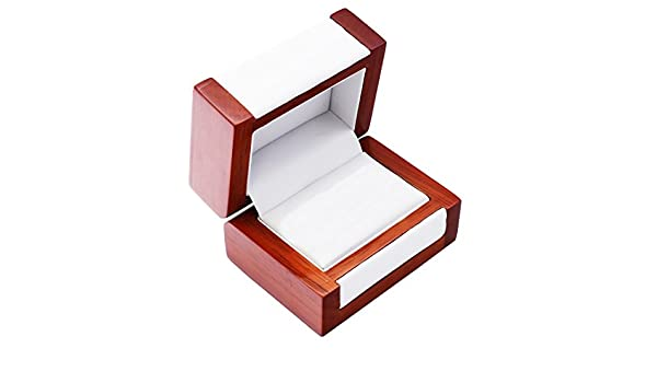 EYS JEWELRY® estuche de joyería para anillos de boda 80 x 60 x 50 mm madera marrón caja para anillos de boda alianza caja cofre embalaje para regalo: ...