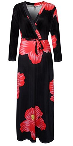 Maxi Floral Sleeve Size Cromoncent Plus Long Neck Womens Party Belted Red V Dress tpqxvH