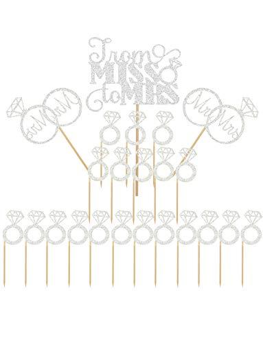 Joyclub Sliver Mr Mrs Cake Topper Diamond Ring Cupcake Picks For Wedding Bridal Shower Engagement Decorations Supplies(23 pack)