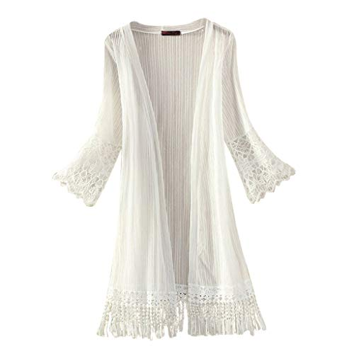 FORUU Cardigans for Womens, 2019 Summer Laides Open Front Sunscreen Long Flare Sleeve Solid Tassels Kimono Casual Beach Holiday Best Gift for Birthday Mother Lover Girlfriend Wife Daughter Girls Teen