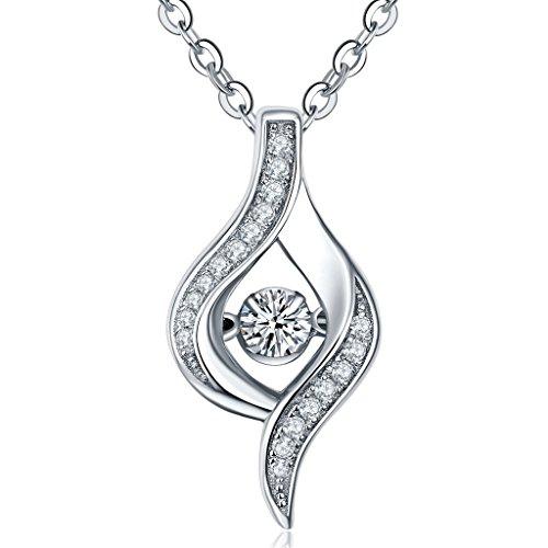 yl de bijoux pour femme Dancing Diamant Argent sterling 925Oxyde de zirconium Pendentif Collier 45,7cm