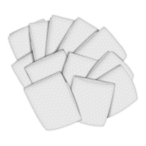 SheetWorld 12 Pack Fitted Portable / Mini Crib Sheets 24'' x 39'' - White Swiss Dot Jersey Knit - Made In USA