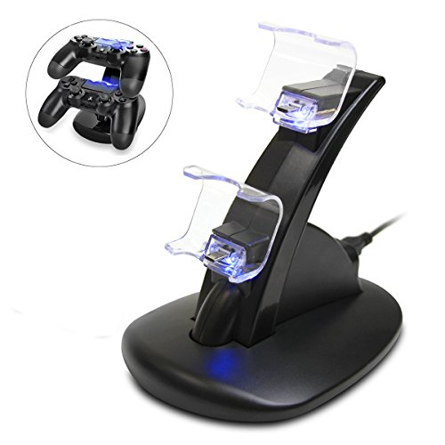 417ifoK7%2B1L - ICE FROG PS4 Controller Charger Dock, LED Dual USB Charging Stand Station Cradle for Sony Playstation 4 Gaming Control with LED Indicator by ICE FROG