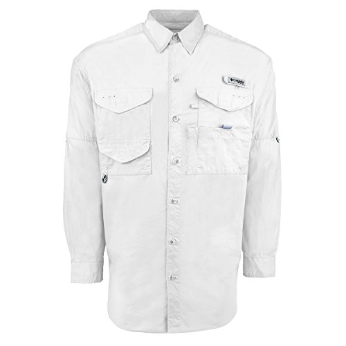 Columbia Men's Bonehead Long Sleeve Fishing Shirt (White, X-Large)