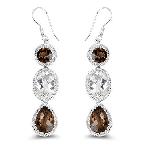 Johareez Smoky Quartz and White Topaz Drop Dangle Earrings in Sterling Silver