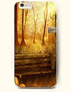 Case Cover For Ipod Touch 4 case Happy Halloween Pumpkin Yellow Forest And Bench