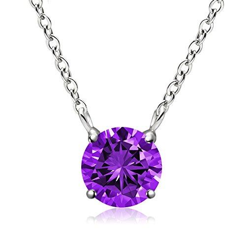 February Birthstone Pendant Necklace, Swarovski Element AAA Cubic Zirconia Sterling Silver Necklace for Women Girls (Amethyst) (Graduated Diamond Pendant)