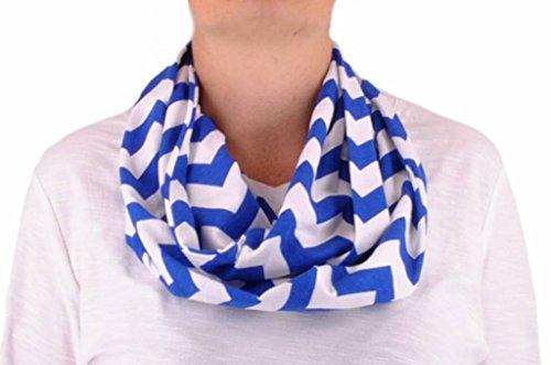 (Handmade Infinity Scarf Jersey Knit Chevron Striped - Royal Blue)