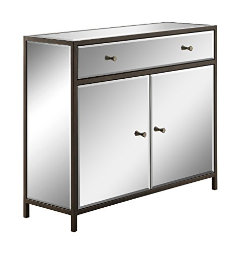Office Star Marquis Console with Drawer, 2-Door Storage Cabinet, and Mirror Surfaces