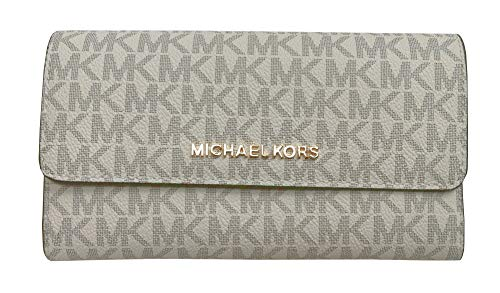 (Michael Kors Jet Set Travel Large Trifold Small Signature PVC Wallet Vanilla Acorn)