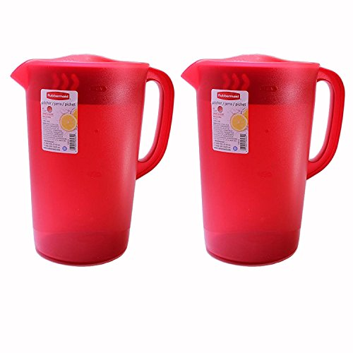 Rubbermaid 1 Gallon Classic Pitcher, Red, Pack of 2 Pitchers (Pitcher Gallon 1)