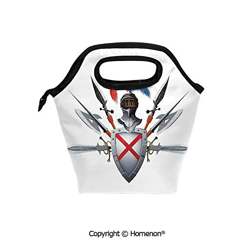 Insulated Neoprene Soft Lunch Bag Tote Handbag lunchbox,3d prited with Knights Mascot with Shield Helmet and Bristling with Historical War Times Art,For School work Office Kids Lunch Box & Food Contai ()
