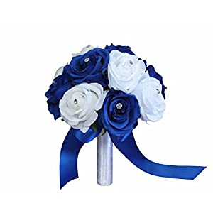Angel Isabella Rose Bouquet-Horizon Royal Blue and White in 8-inch Diameter Perfect for Bridesmaid Bouquet Flower Girl 11