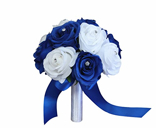 Angel Isabella Rose Bouquet-Horizon Royal Blue and White in 8-inch Diameter Perfect for Bridesmaid Bouquet Flower Girl (Horizon Wedding)