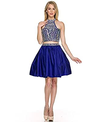 Wishopping Women's Short 2 Pieces High Neck Prom Gown Homecoming Dress WH163 Royal Blue Size 4