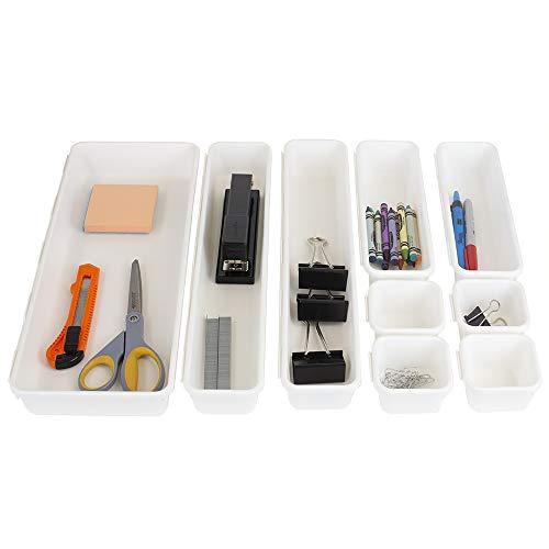 Home Basics 9 Piece Interlocking Plastic Organizer (White) | Desk Drawer Organizer & Storage Tray Dividers for Kitchen, Bathroom, Makeup, Office, Vanity | Customizable Multi-Purpose |, 9 Compartments,