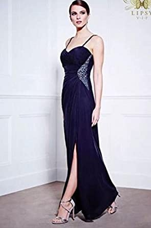 Lipsy VIP VIP Embellished Side and Straps Thigh Split Maxi Dress Navy RRP£130 (