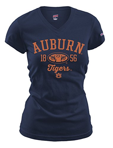 NCAA Auburn Tigers Women's Fitted Collegiate Basic Logo V-Neck Tee, Small