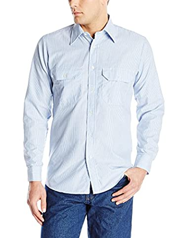Red Kap Men's Deluxe Uniform Shirt, White/Blue Pin Stripe, Long X-Large - Deluxe Blue Shirt