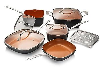 Gotham acero 1777 - Batería de cocina Set, grande, color marrón ...