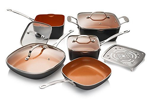 Gotham Steel 10-Piece Nonstick Kitchen Frying Pan and Cookware Set- Square by GOTHAM STEEL