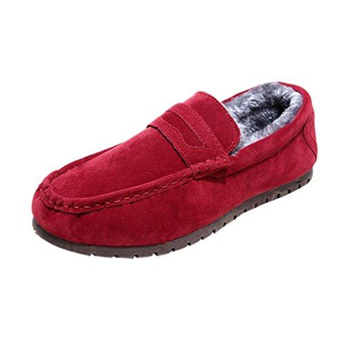 Uomo On Stivali Caloroso Loafers Fucsia Scarpe Piatto Moda Foderato Dooxi Inverno da Slip Comfort Barca Neve dwqHXd8nT