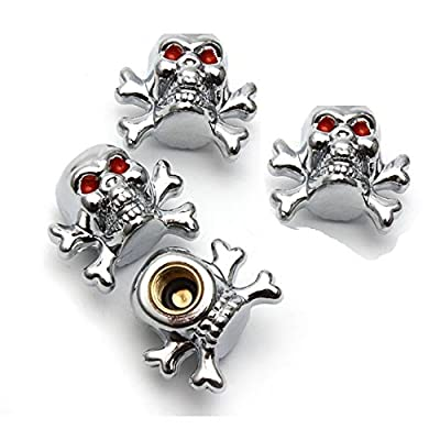 ACCRETION Silver Skull Style Anti-Rust Copper Core Motorcycle Bike Car Tires Valve Stem Caps, 4 Piece Pack: Automotive