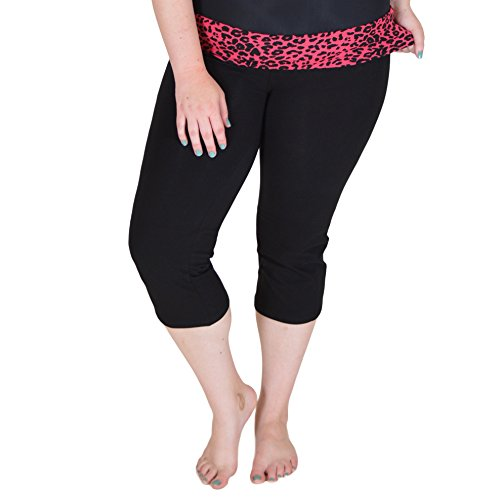 Stretch is Comfort Women's PLUS SIZE CAPRI Yoga Pants Pink Cheetah XXXL