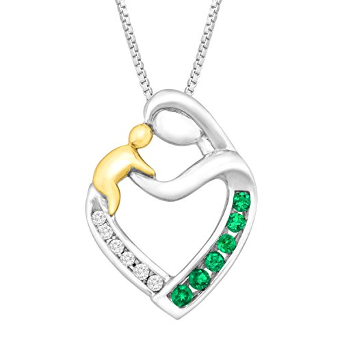 1/6 ct Created Emerald Mother & Child Pendant with Diamonds in Sterling Silver & 14K Gold, 18