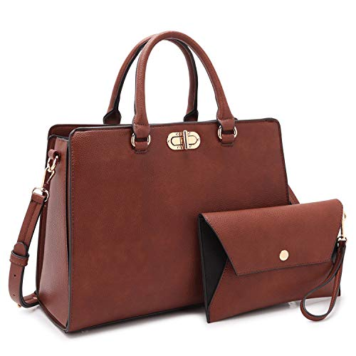 Dasein Women Fashion Handbags Tote Purses Shoulder Bags Top Handle Satchel Purse Set 2pcs Coffee - Flat Wallet Purse