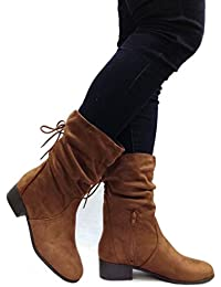 Women's Slouchy Boot Round Toe Foldable Faux Suede