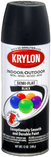 Krylon (K05356507-6 PK Semi-Flat Black Interior/Exterior Decorator Paint - 12 oz. Aerosol, (Case of 6) ()