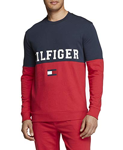Tommy Hilfiger Men's Modern Essentials French Terry Sweatshirt, Dark Navy/Hilfiger Color Block, L (Hilfiger Sonnenbrillen)