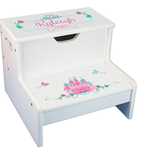 Personalized Pink Teal Princess Castle Childrens Step and Storage Stool