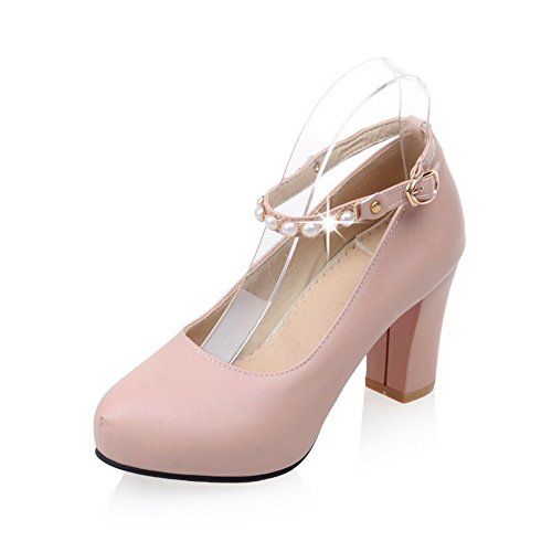 AdeeSu Womens Chunky Heels Light-Weight Ankle-Strap Solid Urethane Pumps Shoes SDC03626 Pink
