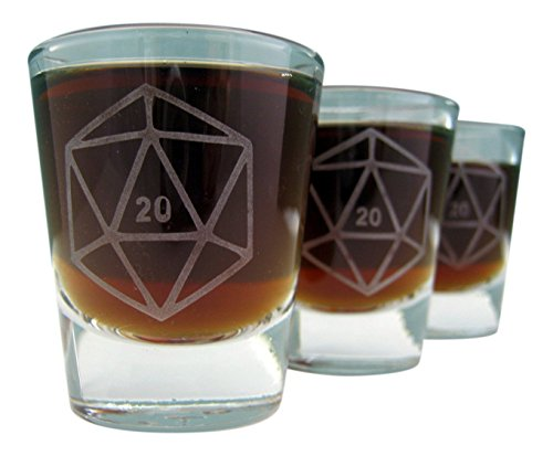 D20 Gamer Dice | Etched Shot Glass