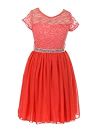 iGirlDress Girls Floral Lace and Chiffon Flower Girl Dress Coral Size2