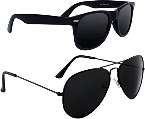 580dd0be453 Deixels UV Protected Aviator   Wayfarer Sunglasses For Unisex (Combo - Black)   Amazon.in  Clothing   Accessories