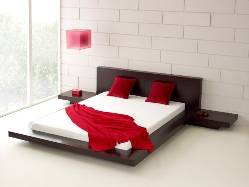 fujian modern platform bed 2 night stands queen espresso - Japanese Style Bed Frame