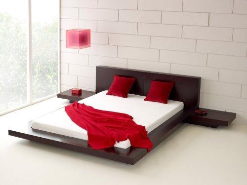 Fujian Modern Platform Bed + 2 Night Stands King (Japanese Platform Bed Frame)