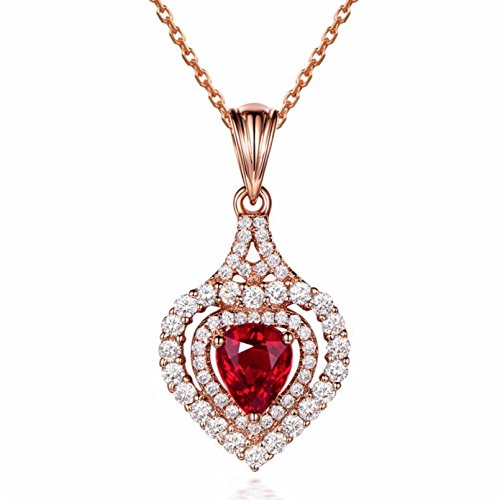 Rose Gold Red Heart Crystal Pendant Necklace, Earrings, or Jewelry Set Studded with Sparkling Cubic Zirconia - BOX, CARD & ENVELOPE INCLUDED FOR EASY GIFTING (Necklace Only) (Red Gold Necklace)