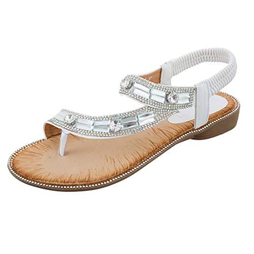 FengGa Rhinestone Roman Shoes Fashion Sweet Bohemia T-Strap Chain Flat Sandals Comfort Summer Herringbone Beachshoes White